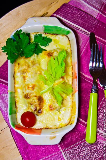 Цикорий, запеченный под сырным соусом - фото