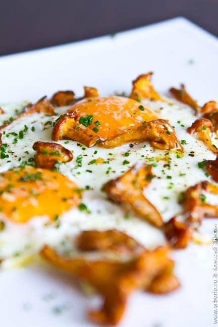 eggs mushrooms Яичница с грибами.